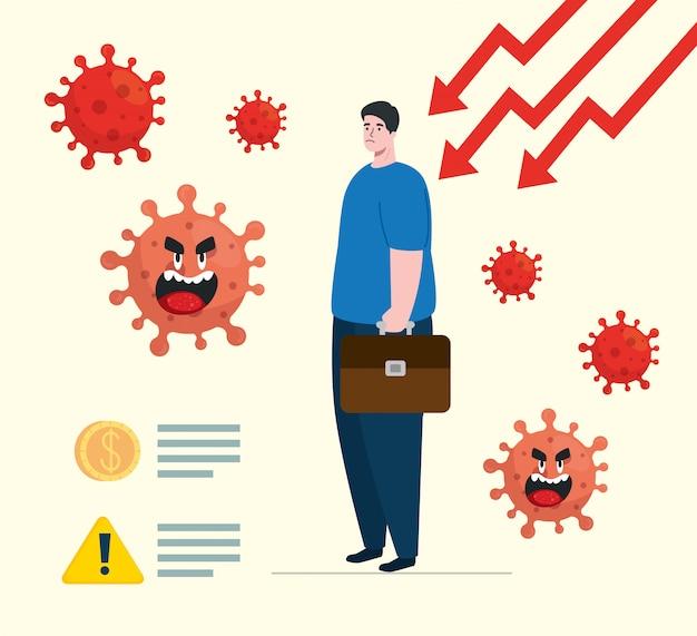 Coronavirus 2019 ncov wpływa na globalną gospodarkę, wirus covid 19 obniża gospodarkę, światowy wpływ ekonomiczny covid 19, człowiek ze strzałkami w dół