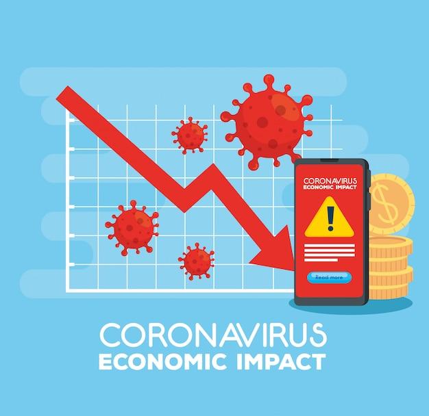 Coronavirus 2019 ncov wpływa na globalną gospodarkę, wirus covid 19 obniża gospodarkę, światowy wpływ ekonomiczny covid 19, statystyki biznesowe i ikony w dół