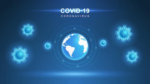 Coronavirus covid-19. epidemia koronawirusa i tło grypy koronawirusów. wirus covid-19. atak wirusów na ziemię. ilustracja.