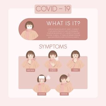 Coronavirus covid-19 epidemia pandemii objawy i informacje ilustracje koncepcyjne w celu zapobiegania rozprzestrzenianiu się infekcji