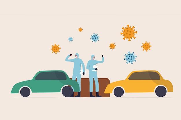 Coronavirus covid-19 przejeżdża przez koncepcję miejsca testowego, lekarze i pracownicy medyczni pełny sprzęt ochronny pobiera próbkę w miejscu testowym covid-19 z przejeżdżającymi samochodami i patogenami wirusowymi
