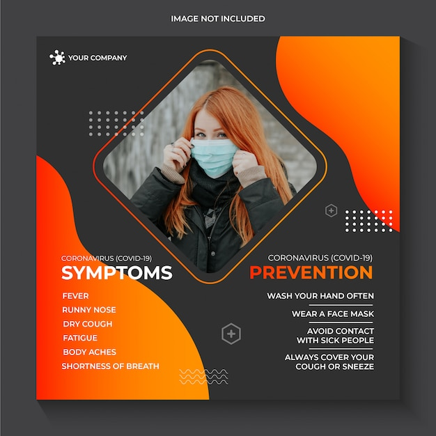 Coronavirus covid-19 zapobieganie ostrzeżenie szablon banner mediów społecznościowych