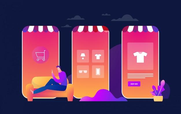 Coronavirus epidemic quarantine.young man shop online. konsumpcjonizm w aplikacji mobilnej na smartfony. kup w domu. przetrwaj covid 19. płaska ilustracja