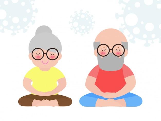 Coronavirus lub covid-19 pojęcia kwarantanny para starszych relaks w jodze stanowią pobyt w domu, zdrowy styl życia na białym tle na ilustracji