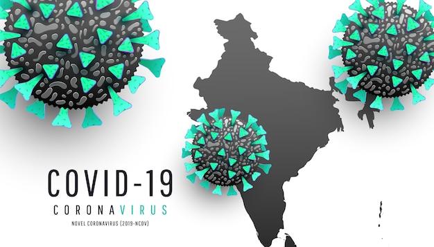 Coronavirus mapuje aktualizację sytuacji chorobowej na całym świecie koronawirus rozprzestrzenia się na białym tle. cząsteczki koronawirusa, mapa indii świata coronavirus lub covid-19