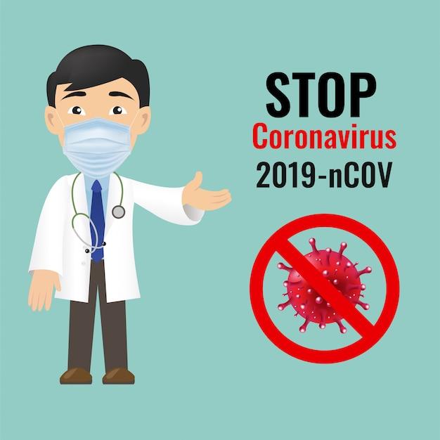 Coronavirus plakat profesjonalny lekarz na białym tle zielone tło