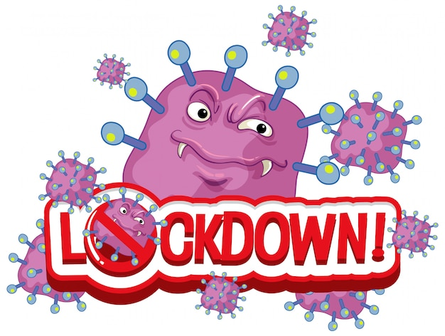 Coronavirus plakat projekt z blokadą programu word na białym tle