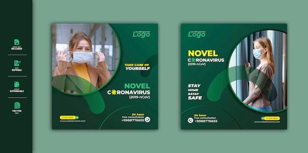 Coronavirus social media szablon szablonu premium