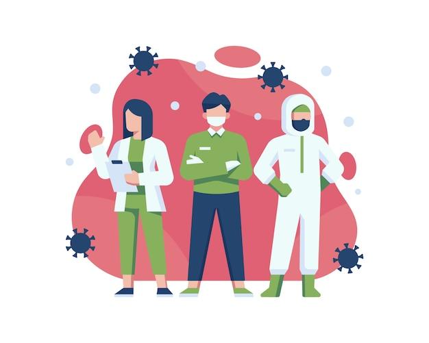 Coronavirus super hero składający się z lekarzy, pielęgniarek i pracowników medycznych