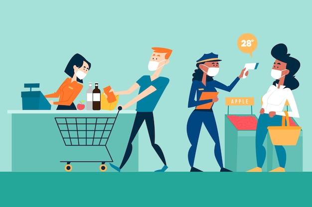 Coronavirus supermarketa ilustracyjny projekt