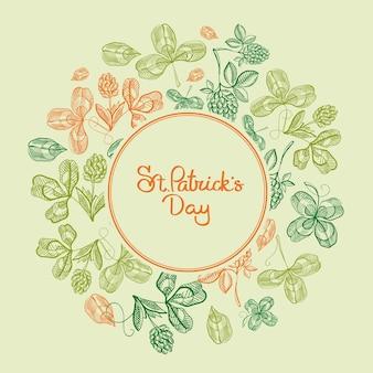 Cororful okrągłe ramki szkic kompozycji kartkę z życzeniami z liści koniczyny i gałęzi chmielu wokół ilustracji wektorowych napis st.patricks day