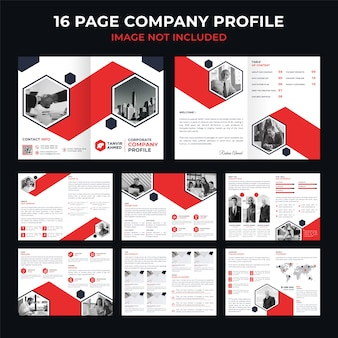 Corporate 16 page broszura firmy, katalog lub szablon dokumentacji