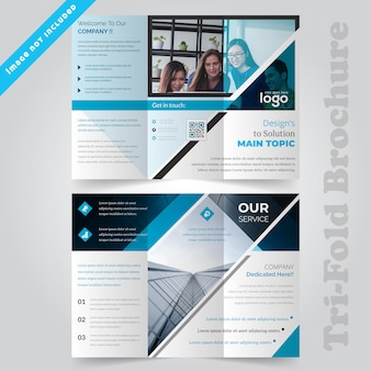 Corporate blue trifold brochure