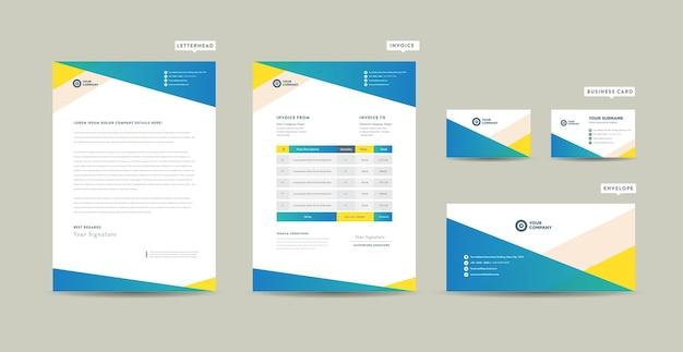 Corporate business branding identyfikacja lub projekt papeterii lub projekt dokumentu firmy start-up