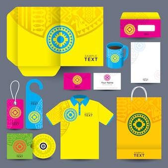 Corporate business kit z afrykańskim wzorem