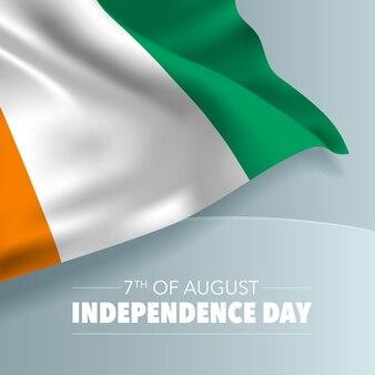 Cote divoire szczęśliwy dzień niepodległości kartkę z życzeniami, baner, ilustracji wektorowych. wybrzeże kości słoniowej święto narodowe 7 sierpnia tło z elementami flagi, format kwadratowy