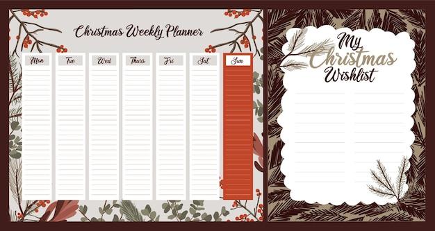 Cotygodniowy dzienny planer świąteczny uroczy tematyczny skandynawski styl