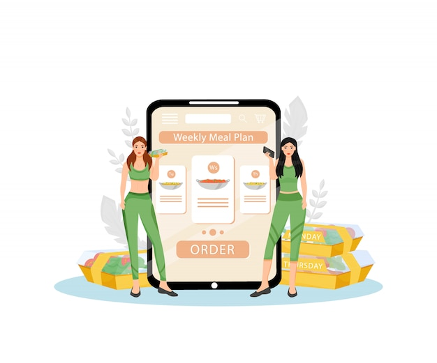 Cotygodniowy plan posiłków ilustracja koncepcja płaski. żeńskie dietetyczki 2d postaci z kreskówek do projektowania stron internetowych. kreatywne planowanie zdrowego żywienia i dietetycznych usług dostarczania żywności