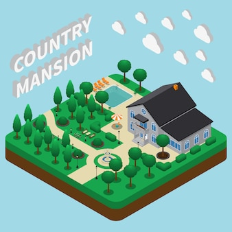 Country mansion isometric