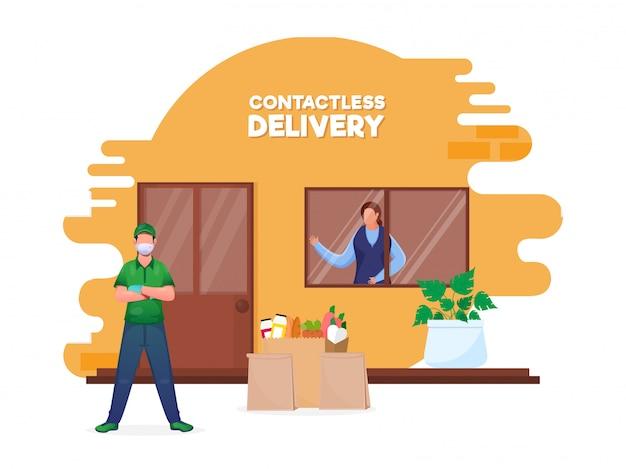 Courier boy dostarcza produkty spożywcze w pobliżu klienta zbliżeniowego w drzwiach, aby uniknąć koronawirusa.