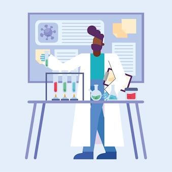 Covid 19 badanie szczepionki wirusowej i chemiczny murzyn z projektem kolb 2019 ncov cov i koronawirus tematu ilustracja wektorowa
