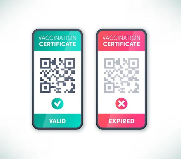 Covid-19 certyfikat szczepienia kod qr ekran smartfona wektor zestaw. elektroniczna aplikacja przepustki odpornościowej