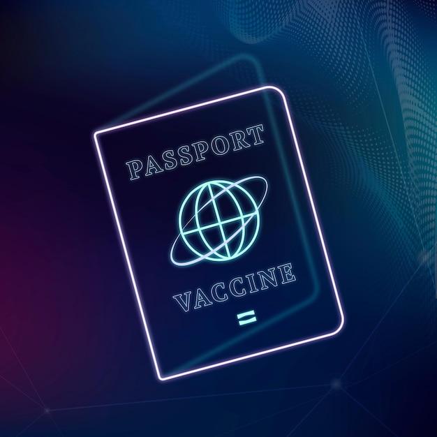 Covid-19 certyfikat szczepionki paszport wektor fioletowy neon graficzny