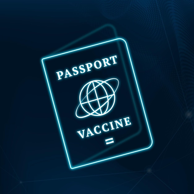 Covid-19 certyfikat szczepionki paszport wektor niebieska neonowa grafika