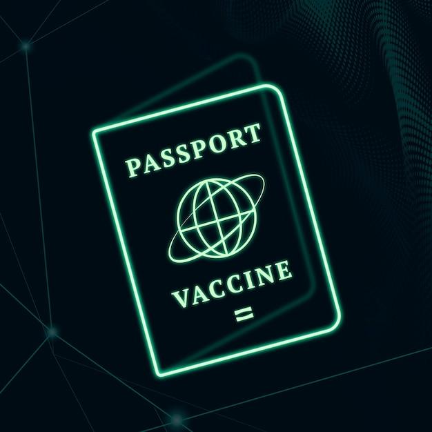 Covid-19 certyfikat szczepionki paszport wektor zielony neon graficzny