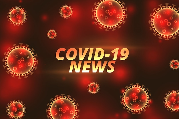 Covid-19 coronavirus news aktualizuje banner z wirującym wirusem