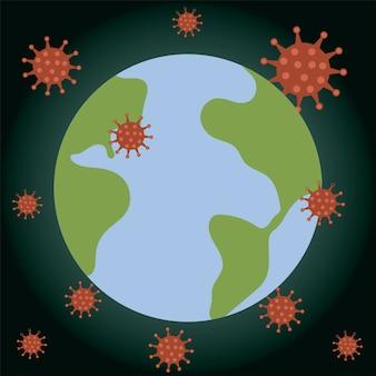 Covid 19 ilustracja epidemii kryzysu na mapie świata koronawirusa