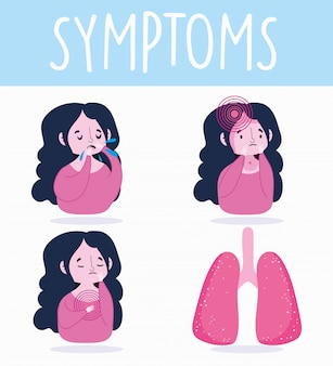 Covid 19 infografika koronawirusowa, objawy ludzi, ból głowy, kaszel i ból w klatce piersiowej