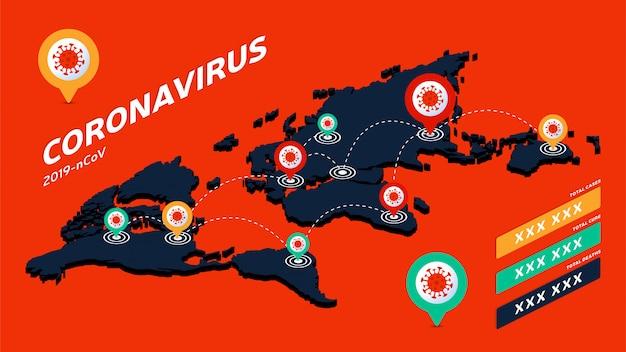 Covid-19, izometryczna mapa świata covid 19 potwierdzone przypadki, wyleczenie, zgony zgłaszają na całym świecie na całym świecie. aktualizacja sytuacji choroby koronawirusowej 2019 na całym świecie.