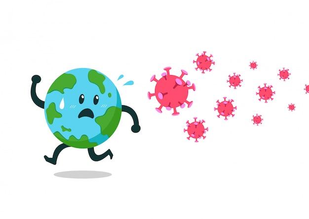 Covid-19 koncepcja ochrony postać z kreskówki ziemia ucieka przed wirusem