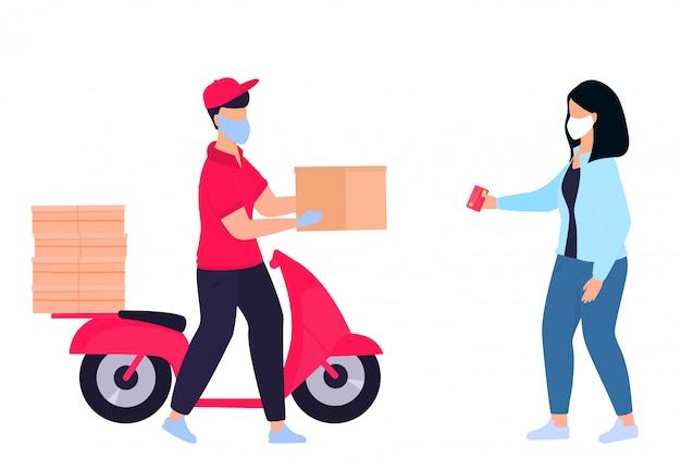 Covid-19. koronawirus. doręczyciel w ochronnej masce medycznej przyniósł paczkę na motocyklu. kobieta czeka na kuriera. zamów jedzenie. bezpieczna dostawa kwarantanna. samoizolacja.