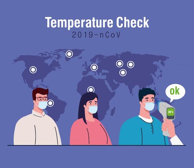 Covid 19 koronawirus, ręka trzymająca termometr na podczerwień do pomiaru temperatury ciała, ludzie sprawdzają temperaturę