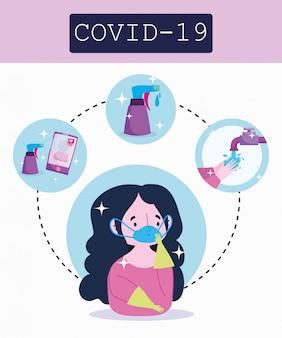 Covid 19 koronawirusa infographic, dziewczyna z medyczną maską, proces zapobiegania ilustracji wektorowych