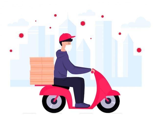 Covid-19. kwarantanna w mieście. epidemia koronawirusa. doręczeniowy mężczyzna w masce ochronnej niesie jedzenie na motocyklu. darmowa dostawa.