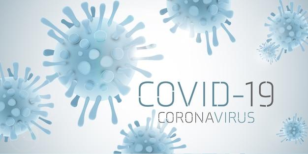 Covid 19 na białym tle na dużym banerze