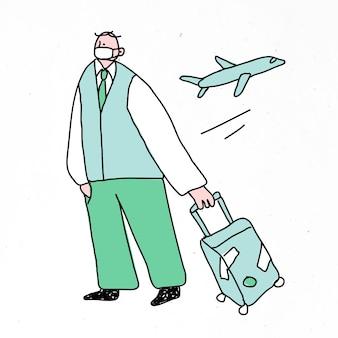 Covid-19 nowy normalny człowiek podróżujący doodle