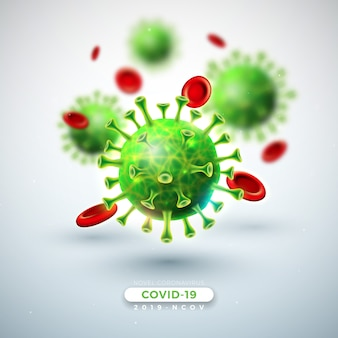 Covid-19. projekt epidemii koronawirusa ze spadającym wirusem i komórkami krwi w widoku mikroskopowym na jasnym tle. ilustracja wirusa corona 2019-ncov na temat niebezpieczny epidemiczny sars dla banera.