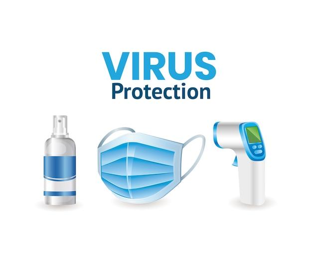 Covid 19 środek do dezynfekcji w sprayu ochrona przed wirusami maska na twarz i elektroniczny termometr projekt z motywem cov i koronawirusa 2019