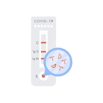 Covid-19 szybki test z cząsteczkami antygenu. ekspresowy test koronawirusa z wynikiem pozytywnym. wektor