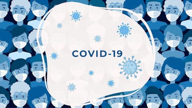 Covid-19 tłum ludzi z ochronnymi maskami medycznymi