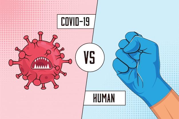 Covid-19 vs człowiek. walcz z koncepcją koronawirusa za pomocą bakterii wirusa czerwonej kreskówki w porównaniu z ludzką uniesioną pięścią w niebieskiej ochronnej rękawicy medycznej.