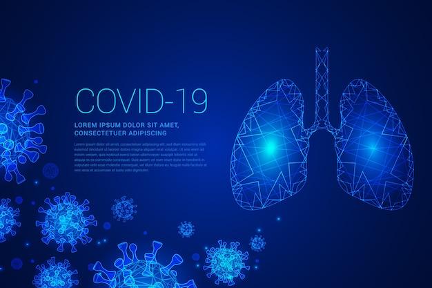 Covid-19 w niebieskich odcieniach z płucami