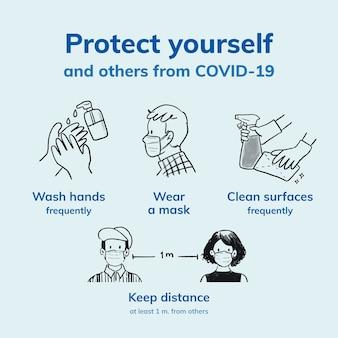 Covid 19 wektor szablonu na instagramie, koronawirus zapobiega rozprzestrzenianiu się wskazówek