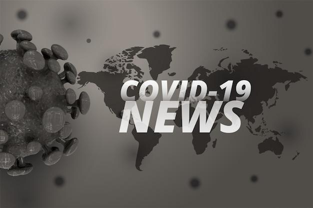 Covid-19 wiadomości i aktualizacje w tle z koronawirusem 3d