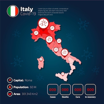 Covid-19 włochy mapa kraju infografika