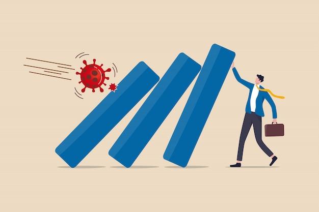 Covid-19 wybuch koronawirusa kryzys finansowy pomaga polityce, firmie i biznesowi przetrwać koncepcję, lider biznesmena pomaga popchnąć wykres słupkowy podupadający ekonomicznie od patogenu wirusa covid-19